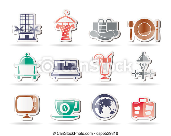 Hotel, motel and holidays icons - csp5529318