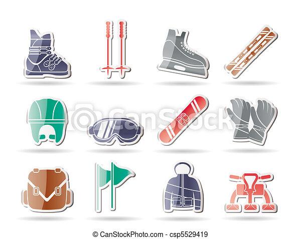 ski and snowboard equipment icons  - csp5529419
