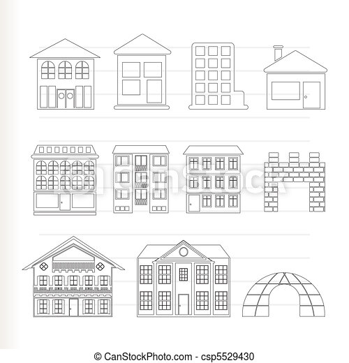 Vector clipart of different kinds of houses and buildings for Different types of house plans