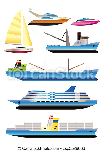 different types of boat and  ships - csp5529666