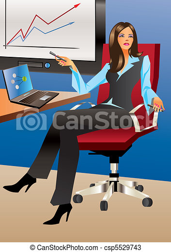 Business woman in office  - csp5529743
