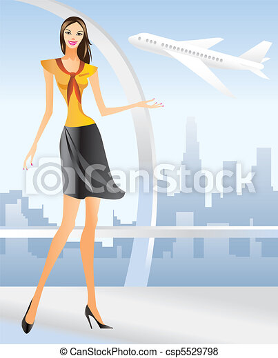 beautiful Stewardess at the airport - csp5529798