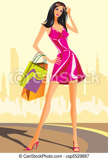 fashion shopping girls  - csp5529887
