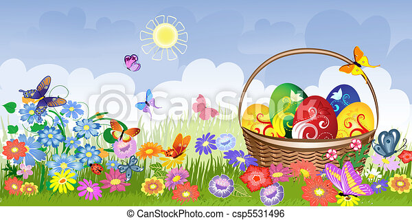 Easter basket on the lawn - csp5531496