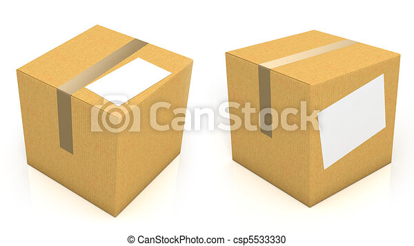 Carton box with blank paper for text - csp5533330