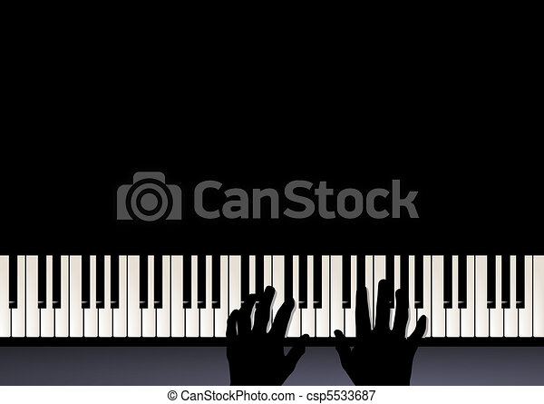 Vectors Illustration of piano play, two hands playing ...