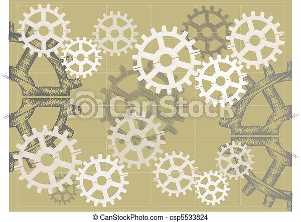 Blue print sketch style Brown gears - csp5533824