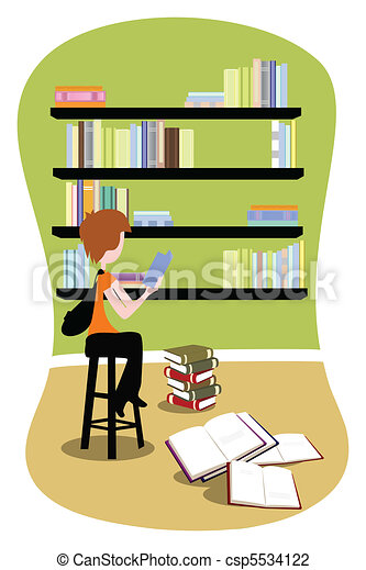 Student in library - csp5534122