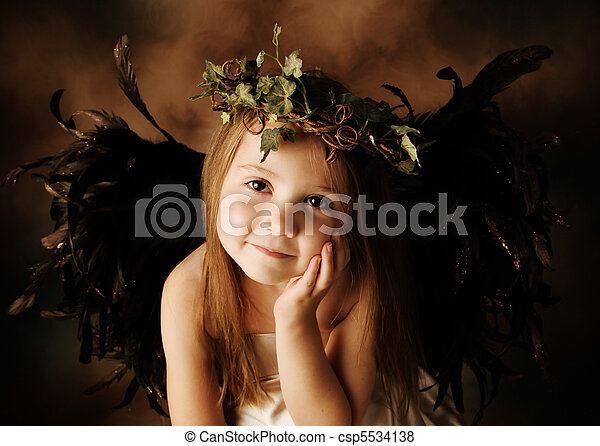 Little Gold and brown angel child - csp5534138