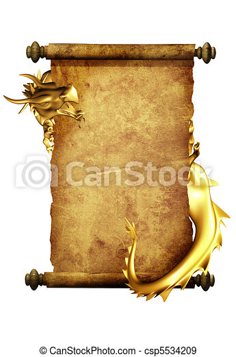Dragon and scroll of old parchment - csp5534209