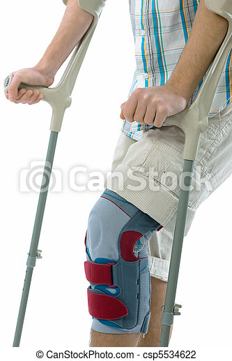 teenager on crutches  - csp5534622
