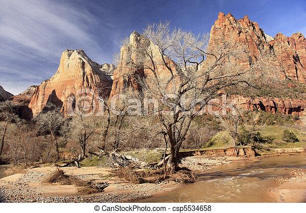 Red Rock Canyon Court of Patriarchs Virgin River Zion National Park Utah Southwest  - csp5534658
