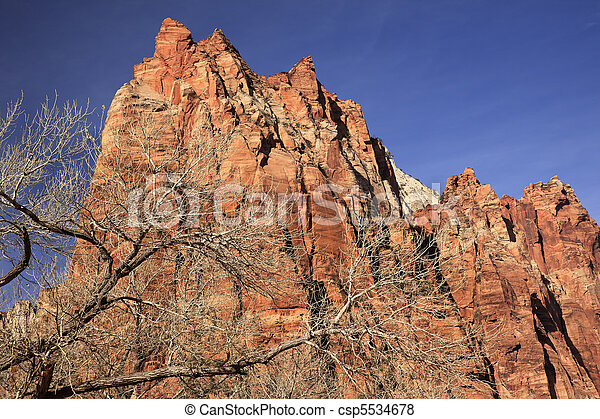 Red Rock Cliff Court of Patriarchs Zion Canyon National Park Utah Southwest  - csp5534678