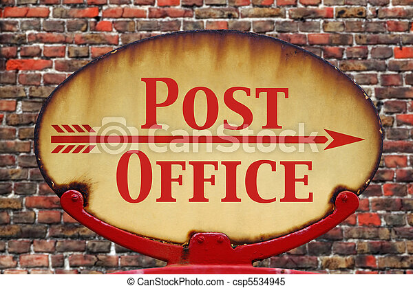 Retro sign Post office - csp5534945