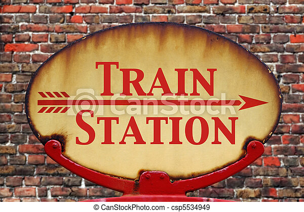 Retro sign Train station - csp5534949
