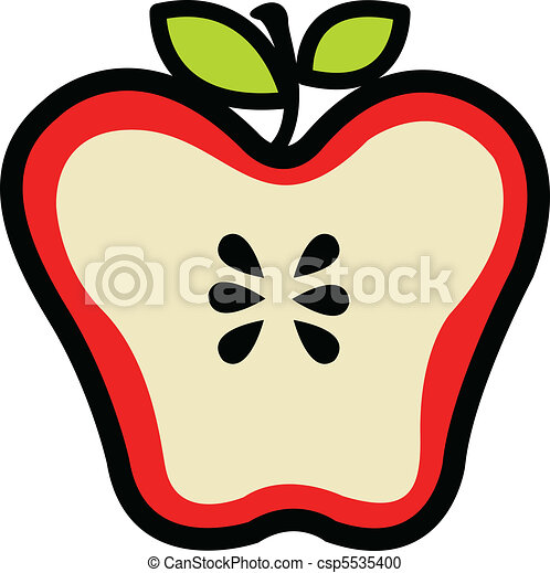 Red, juicy apple sliced in half - csp5535400