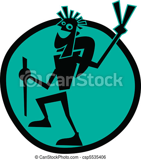 Guy backpacking or hiking clip art - csp5535406