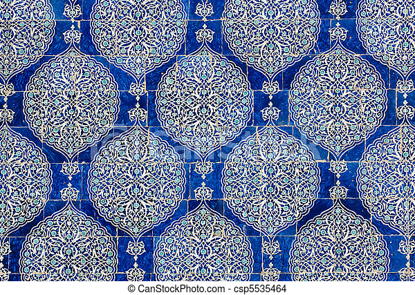Tiled background, oriental ornaments from Uzbekistan Tiled backg - csp5535464