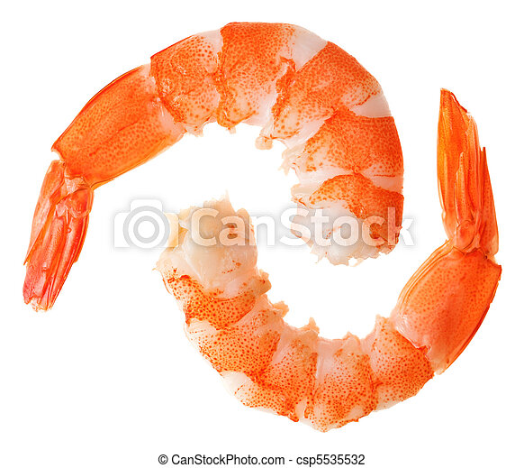 Two cooked unshelled tiger shrimps - csp5535532