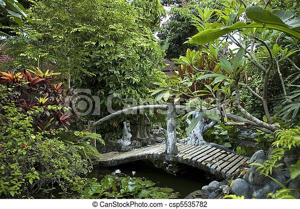woden bridge in eastern garden - csp5535782