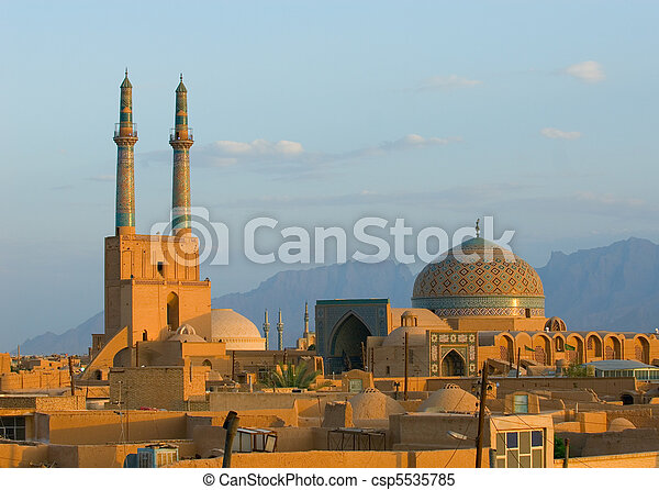 Sunset over ancient city of Yazd, Iran - csp5535785