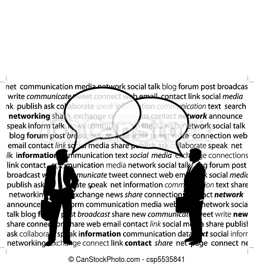 Business people share social network talk bubbles - csp5535841