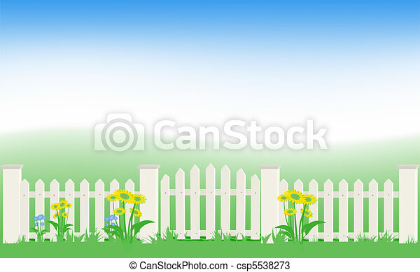 Grass and fence under blue sky. - csp5538273