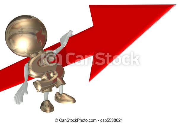 Mr Dollar balances on an arrow, isolated 3D personage on a white background - csp5538621