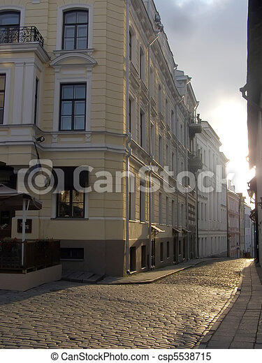 Streets of ancient city, Facades in capital of Estonia Tallinn - csp5538715
