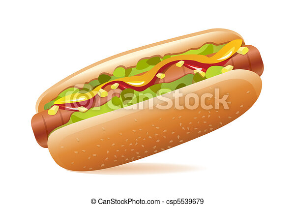 de, Yummy, Hot dog, en, blanco, Plano... csp5539679 - Buscar Clipart ...