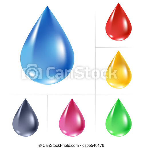Set of water drops. - csp5540178