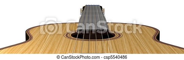 Isolated acoustic guitar on a white background - csp5540486
