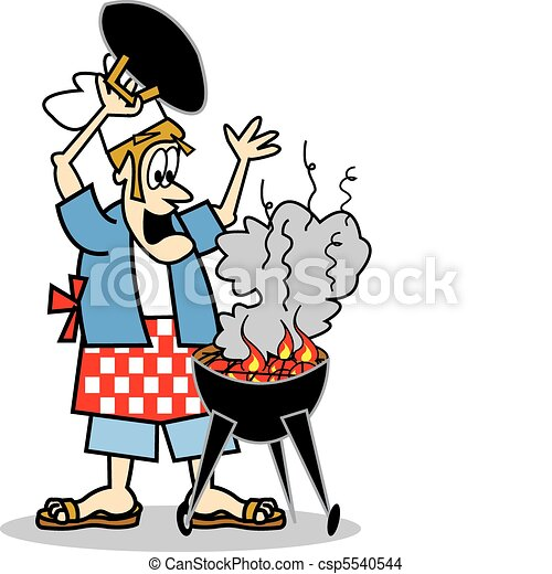Cook or chef cooking on a bbq - csp5540544