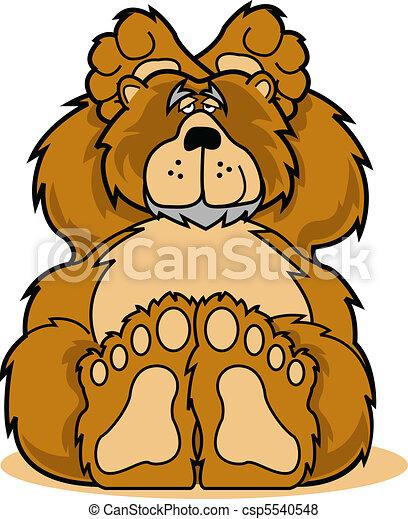 Cute cartoon bear relaxing clip art - csp5540548