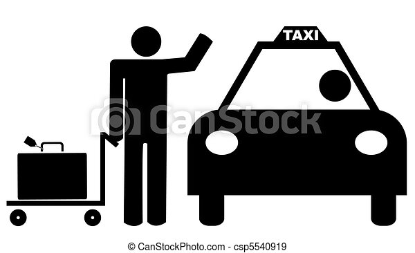 man with luggage hailing a taxi cab - csp5540919