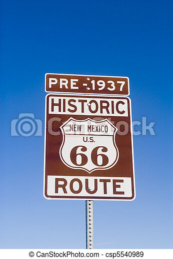 Historic Pre 1937 New Mexico Route 66 Sign - csp5540989