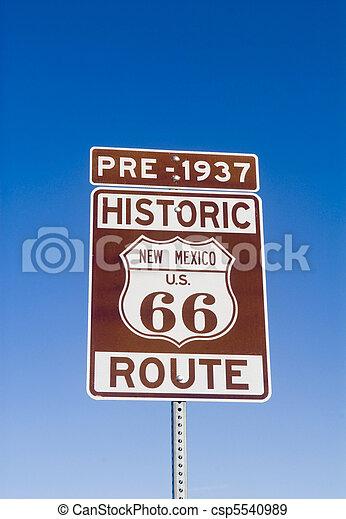 Historic Pre 1937 New Mexico Route 66 Sign - csp5540989