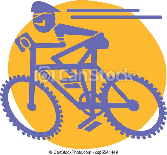 Mountain Biker Riding Bicycle - csp5541449