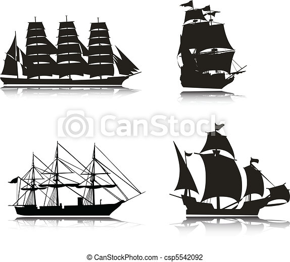 Sailing vector silhouettes - csp5542092