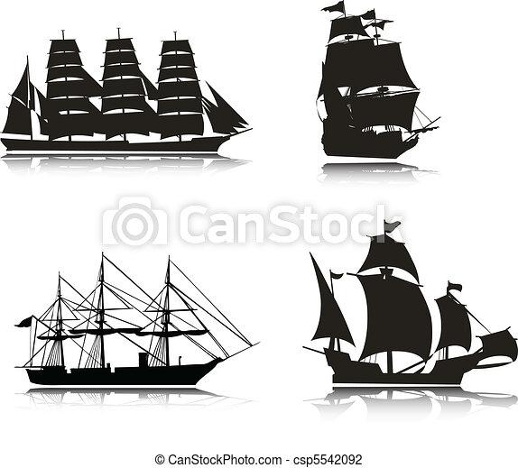 Sailing vector silhouettes - csp5542092