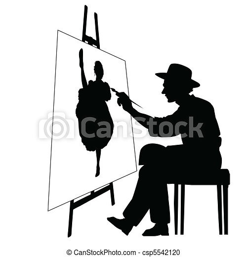 Artist with easel - csp5542120