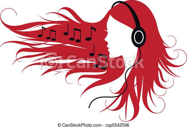 woman listening music - csp5542596