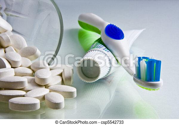 Calcium, Toothbrush & Toothpaste - csp5542733