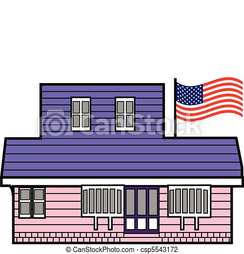 Building with American flag on pole - csp5543172