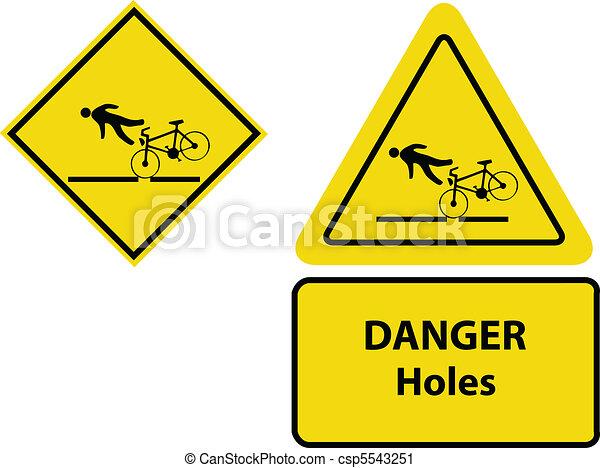 yellow bicycle warning signs - csp5543251