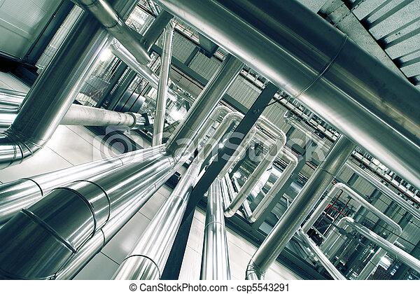 Industrial zone, Steel pipelines in blue tones - csp5543291