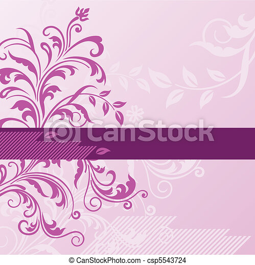 Pink floral background with banner - csp5543724