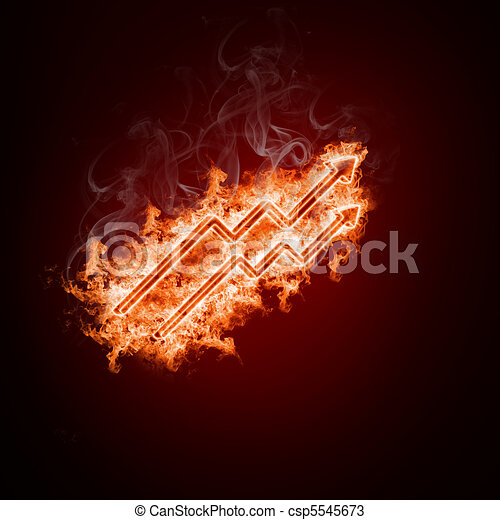 Drawings Of Symbol Open Arms Fire On A Black Background