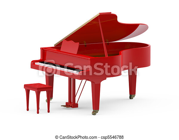 Red grand piano - csp5546788