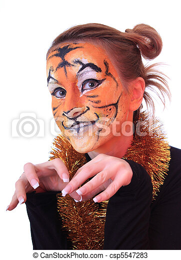 Girl in appearance a tiger.  - csp5547283